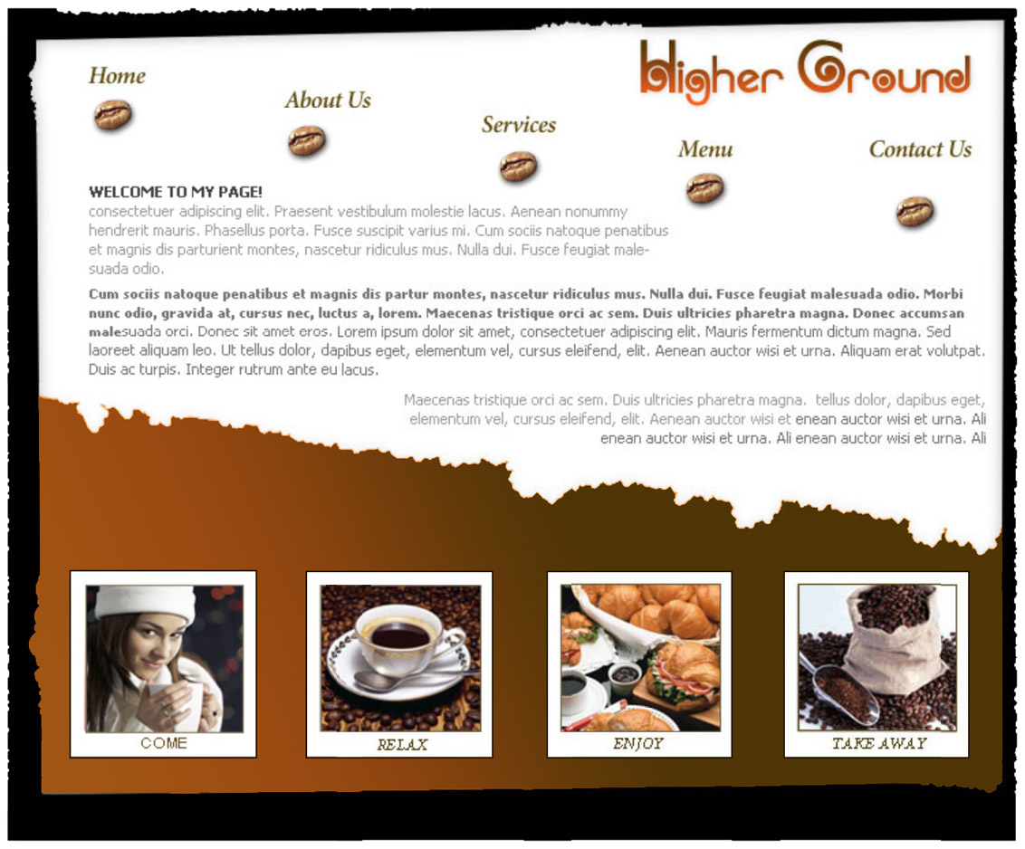 HIGHER GROUND COFFEE-Webpage Layout