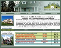 Webphotographix Homepage Design Layout -  great city real estate website